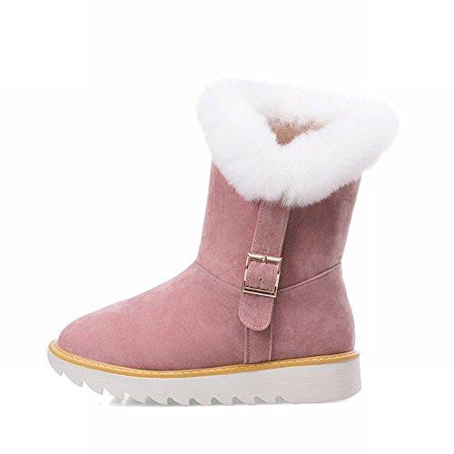 Mee Shoes Damen hidden heels Pompon Nubukleder kurzschaft Schneestiefel Pink