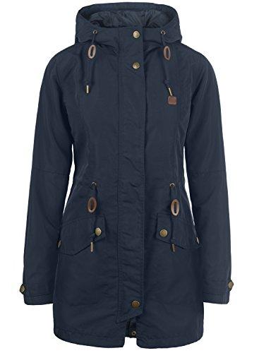 DESIRES Sakura Damen Übergangsmantel Parka Lange Jacke Mit Kapuze, Größe:XL, Farbe:Insignia Blue (1991)
