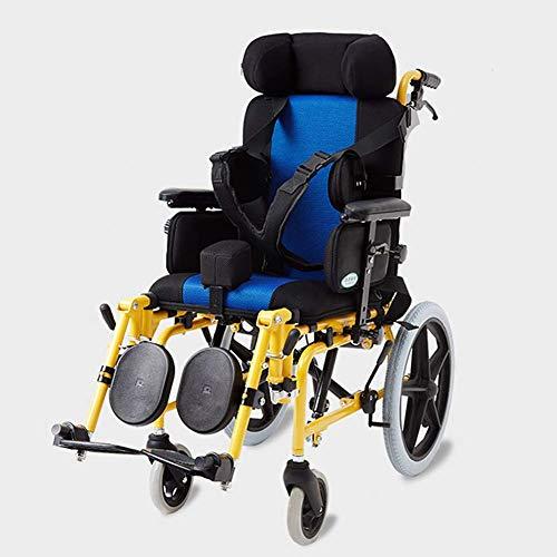 PAP Leichter Faltender Kinderrollstuhl Fahren Medizinisch, Zerebralparese Kinder-Rollstuhlauto Multifunktionale Behinderte Kinder Völlig Liegend Flach Liegend Rollstuhl-Kinderwagen, Gelb, a