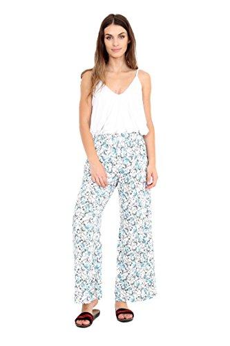 WearAll - Pantalon palazzo évasé et élastiqué - Pantalons - Femmes - Grandes tailles - 44 à 54 Blanc/papillon