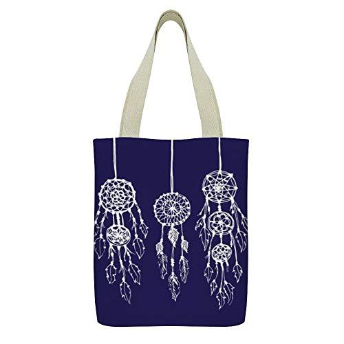 Bolso de mano de lona Cute Sloth Flower Print Grocery Bolso Casual School Shoulder Bag para mujeres niñas,Azul marino azul e ilustrado bohemio atrapasueños