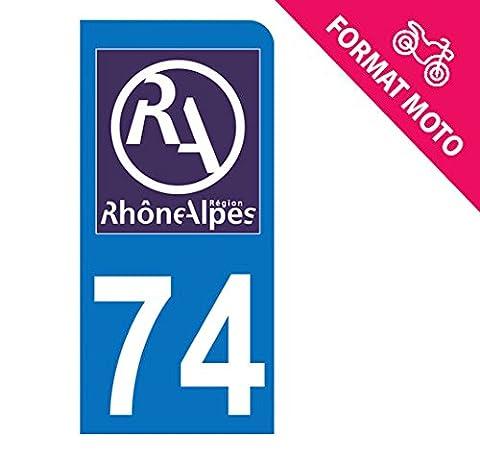 Autocollant Moto immatriculation 74 - Haute Savoie - Nouveau logo Rhône Alpes