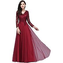 df1ecd85fa72d7 MisShow® Damen Elegant Spitzen Brautkjungfernkleid Abendkleid Tüll  Ballkleid Rückenfrei lang ...