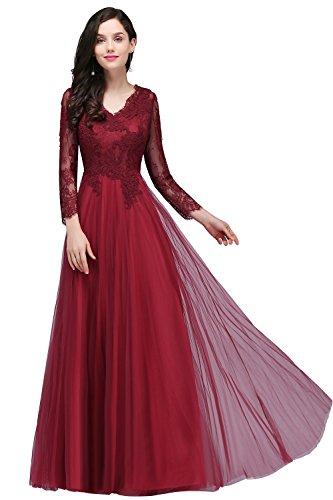 Damen A-Linie V-Ausschnitt Spitzen Brautkleid Hochzeitskleid Applique lang Wein Rot 32