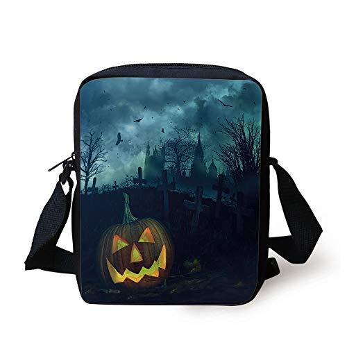 CBBBB Halloween,Halloween Pumpkin in Spooky Graveyard Eerie Gloomy Stormy Atmosphere,Petrol Blue Yellow Print Kids Crossbody Messenger Bag Purse