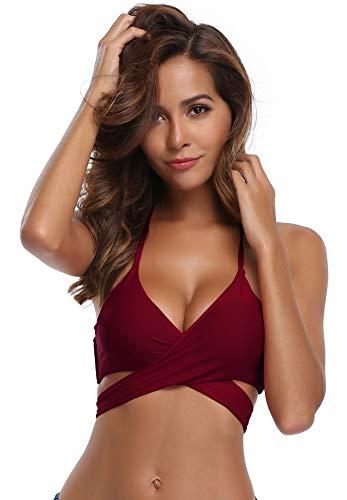 SHEKINI Damen Neckholder Crossover Brazilian Bikini Oberteil Triangel Bügellos Top Sexy Push Up Pads Verstellbare Träger Bikinitop (X-Large, Bikini Top-Weinrot)