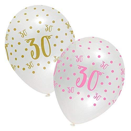 Happy 30th Birthday Latex Polka Dot Balloons, Pack of 6