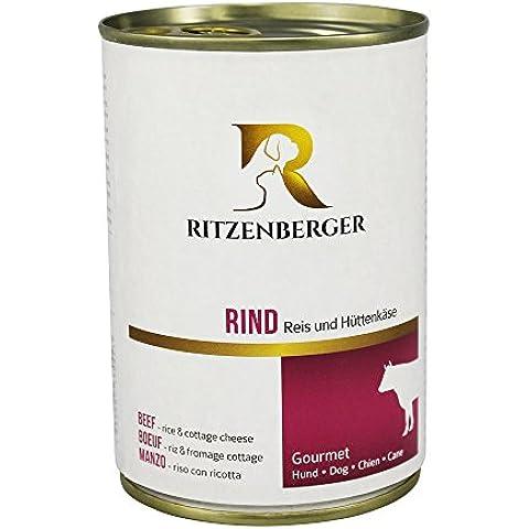 Ritzenberger, Alimento para perros, Vacuno - arroz y queso cottage, 12 x 400g, Gourmet