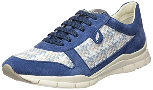 Geox Damen D Sukie A Sneaker, Blau (Denim/Lt Grey), 38 EU