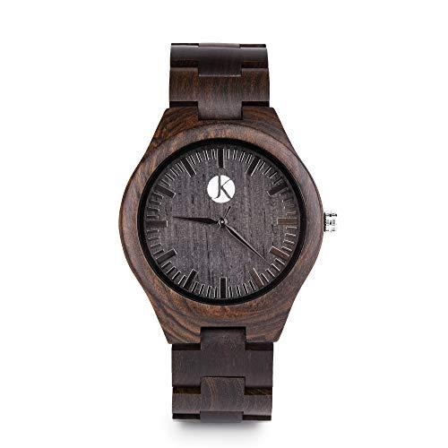 Kim Johanson Herren Ebenholz Armbanduhr *Dark Star* in Braun/Schwarz mit Einem Gliederarmband Handgefertigt Quarz Analog Uhr inkl. Geschenkbox -