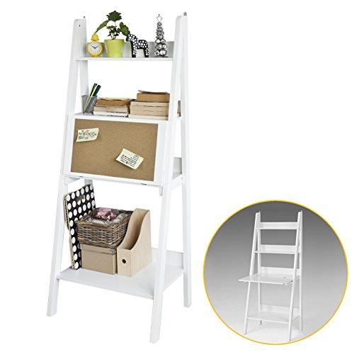 SoBuy Modernes Bücherregal mit Schreibtisch, Standregal, Wandregal mit Korktafel, klappbar, Weiß,...