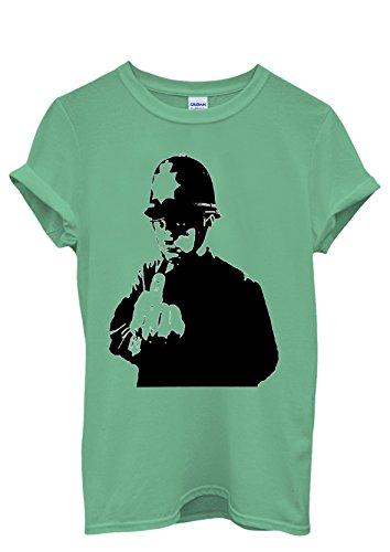 Banksy Policeman Copper Middle Finger Cool Men Women Damen Herren Unisex Top T Shirt Grün