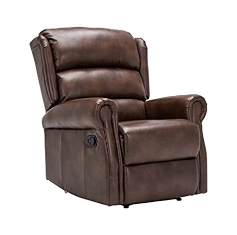 Birlea Manhattan Recliner Chair - Faux Leather, Bronze Brown