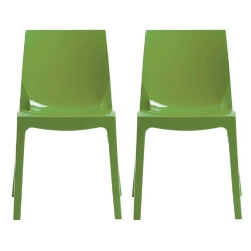 Grandsoleil dès la Glace Higlopp Chaise empilable en Polycarbonate, Brillant, Vert, 54 x 52 x 81 cm