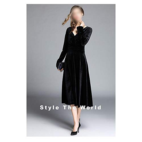 Rocke Temperament-Taille und großer Swing-Rock Krepp-Samt Mittellanges Kleid mit V-Ausschnitt (Farbe : Schwarz, Size : S) - Schwarze Krepp-kleid