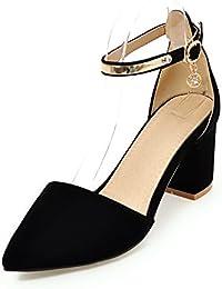 Fashion Heel Moda Puntiagudos Zapatos de Tacón Grueso con Correa de Tobillo con Tamaño Grande para Mujer