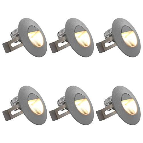 vidaXL 6x Außenleuchte Wandleuchte Gartenlampe Gartenleuchte Treppenleuchte Treppenbeleuchtung Stufenlicht Wand Einbauleuchte LED 5 W Silbern Rund
