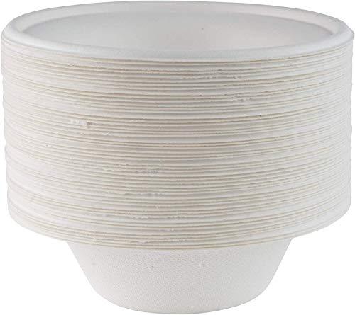 Strapazierfähige Weiße Bagasse-Einwegschalen - Einweggeschirr Extra Stark Biologisch abbaubar und Kompostierbar Umweltfreundliche Plastik-Alternative - Tiefe Schüsseln, Suppenschale 50 Stück - 350 ml
