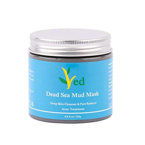 Masque de boue de la mer Morte pour le visage, le corps et les cheveux - 100% naturel et organique - 260 ml de nettoyage facial, hydratant pour la peau et désintoxication, masque facial, élimine l'acné, améliore les pores larges et le réducteur des rides, la qualité du spa final, l'additif infusé minéral gratuit