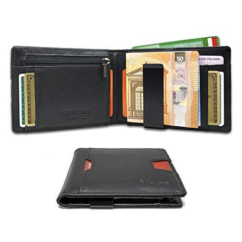 925cd759cb Portafoglio Uomo Piccolo Intelligente Protezione RFID - 2A Generazione -  Artigianale Vera Pelle 9 Tasche Porta