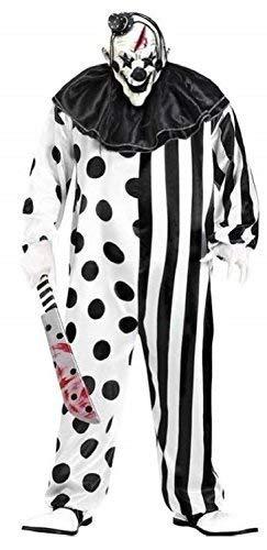 Fancy Me Herren Schwarz Weiß Dead gruselig Killer Clown + Maske Halloween Kostüm Kleid Outfit - Schwarz/weiß, X-Large