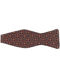 Mens Silk Multicoloured Red/Orange Self Tie Bow Tie (BT131) Patterned Bow Tie Formal Wear