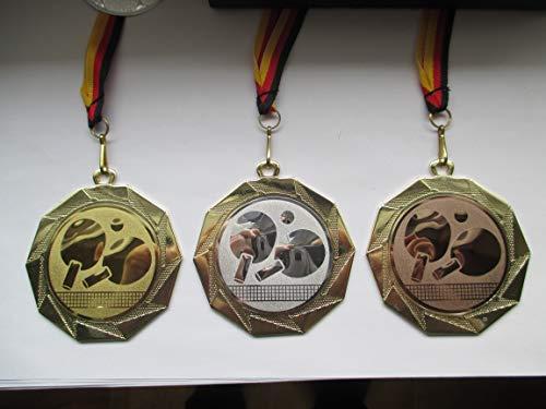 Fanshop Lünen Medaillen Set - Große Stahl 70mm - Gold - Tischtennis - TT - mit Alu Emblem 50mm - Gold,Silber,Bronce, Medaillenset -