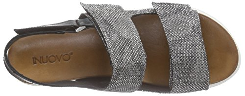 Inuovo - 6177, Scarpe col tacco con cinturino a T Donna Nero (Schwarz (GREY BLACK-BLACK))