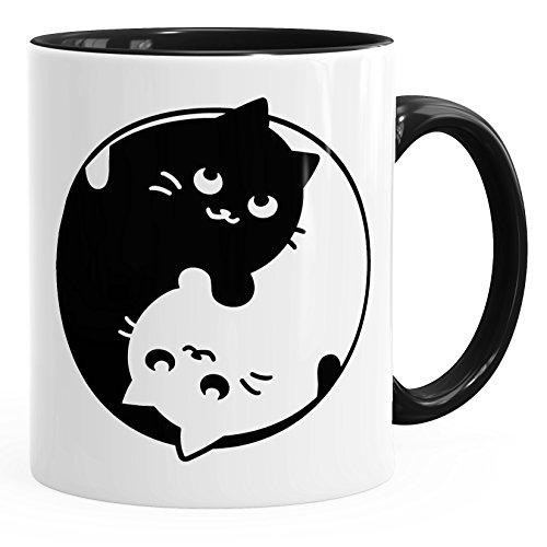 MoonWorks Tasse mit Katzen-Motiv Ying Yang Cats schwarz Unisize