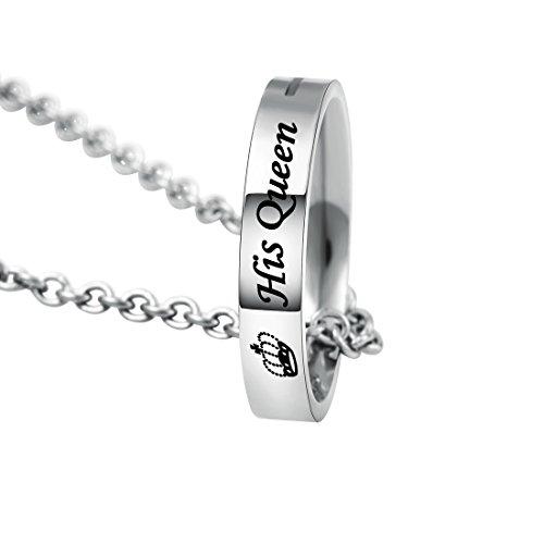 MJARTORIA Damen Halskette Silber Farbe Sperren Schlüssel Partnerketten mit Gravur Ich bin dein Ring Kreis 2 Stück (Her King, His Queen)