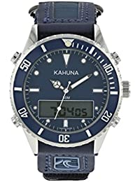 KAHUNA MENS BLUE DIAL SPORTS STYLE NYLON / PU RIP TAPE STRAP WATCH WITH 50 METERS WATER RESISTANT - K5V-0011G