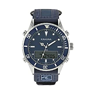 Kahuna para hombre esfera azul deportes estilo de nylon/Poliuretano Rip cinta correa reloj con 50m resistente al agua–k5V-0011g