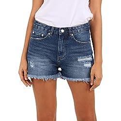 Pantalones Cortos para Mujer con Cintura Alta y Dobladillo Crudo Moda Mom Bermuda Básicos Cortos Vaqueros (ES 46(31W), Azul Oscuro)