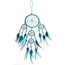 Atrapasueños - buen sueño Diámetro 11,5 cm & 4 x pequeña, color turquesa con conchas, Dream Catcher