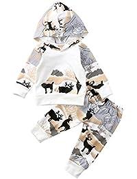 Chinatera Baby Girl's Cartoon Deers Printing Long Sleeve Hoodie and Pants