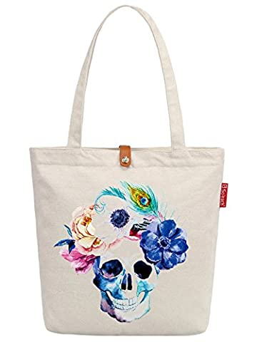 So'each Women's Flower Skull Art Graphic Top Handle Canvas Tote Shoulder Bag