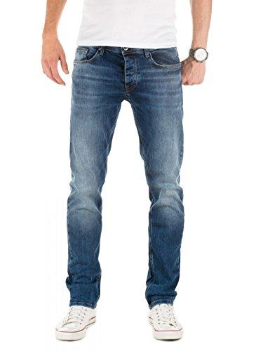 WOTEGA Herren Jeans Alistar Slim fit - Denim Hose Männer Jeanshose Stretch - Used Look, Blau (Ensign Blue 194026), W38/L32