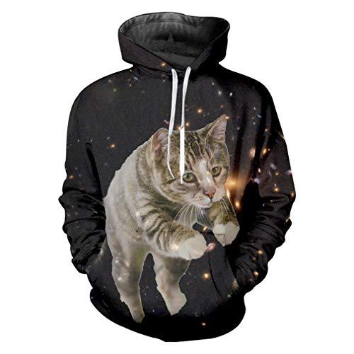 Hoodies Sweatshirts Männer Tier 3D Hoodies Printed Sternenhimmel Katze Hip Hop Plus Größe 5XL Kostüm Man Winter Hoodies Starry Sky cat S
