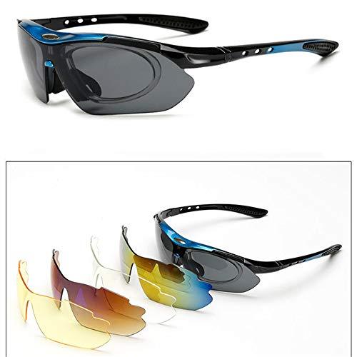 BAIYA PC Explosionssicher Männer Und Frauen Sport Sonnenbrillen, Bunt Winddicht Gläser, Im Freien Reiten Sonnenbrillen Mit Myopie PC-Diskette 5 Stück