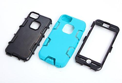 iPhone 5c Hülle, FindaGift 3 in 1 Hybride Handycover Hartschale Cover Roboter Guard Schutzhülle Innere PC Case Weich Silikon Back Rüstung Ganzkörper-Schutz [Bruchsicher] [Anti-Rutsch] Handytasche für  Blau + schwarz