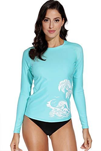 BesserBay Damen Bademode Rash Guard UV Shirts Langarm Slim-Fit Surf Shirt Schwimmen Tankini Badeshirts UPF 50+, 36, Aqua