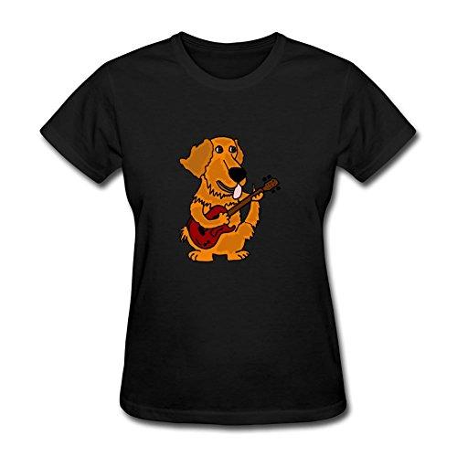 Best cathdennis grau modische Golden Retriever spielt Gitarre T Shirt Frauen XXXL schwarz (Striped Boatneck Tee)