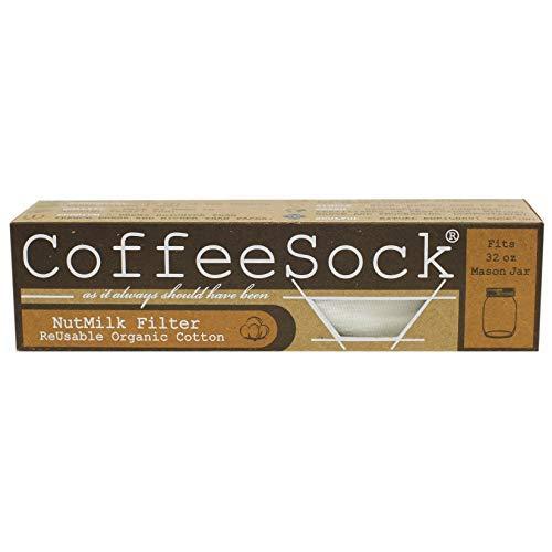 CoffeeSock Gots zertifizierter, wiederverwendbarer Nussbaum-Milchfilter aus biologischer Baumwolle 32 Unzen Natürlich -