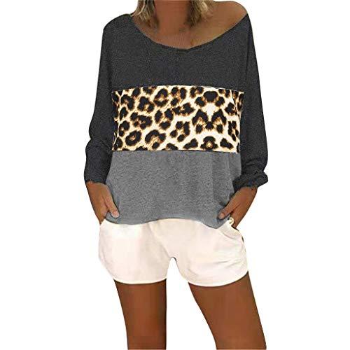 Lazzboy Frauen Langarm V-Ausschnitt Patchwork Pullover T-Shirt Bluse Tops Damen Sommer Casual Kurzarm Oberteil Shirt(Schwarz,S) - Womens Microlight Hose