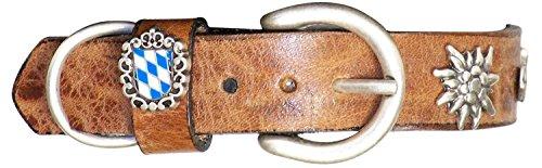 Fronhofer Hundehalsband Bayern, Trachten Halsband 2,5 cm Hund rot, Cognac, Dunkelbraun, Edelweiß Nieten Bayern Banner, 17901, Farbe:Cognac, Größe Hundehalsband:XS Halsumfang 30-37 cm