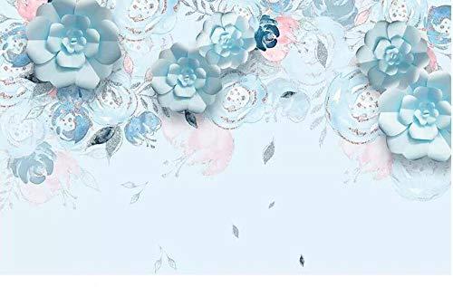 Vlies Wandbild - XXL Tapeten - Wanddekoration photo Moderne Stereoanlage Blaue Blumen hochwertige TV Wohnzimmer Hintergrund Wand Wohnkultur 3D Fototapete