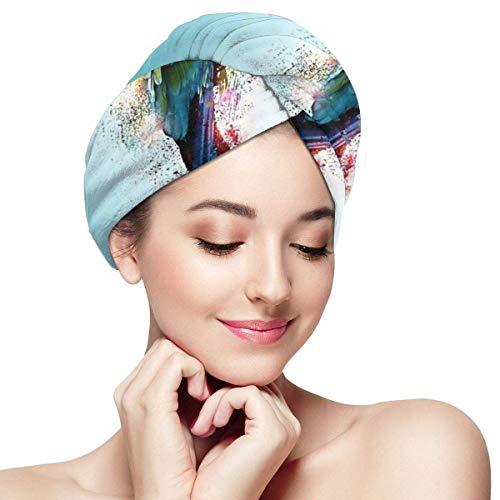 Xukmefat Tropische Kunst Ara Papagei Vogelhaar trockenes Handtuch Wickeln schnell trocknend Anti-Frizz Frauen Magic Hair Head trockene Kappen mit Knopf -