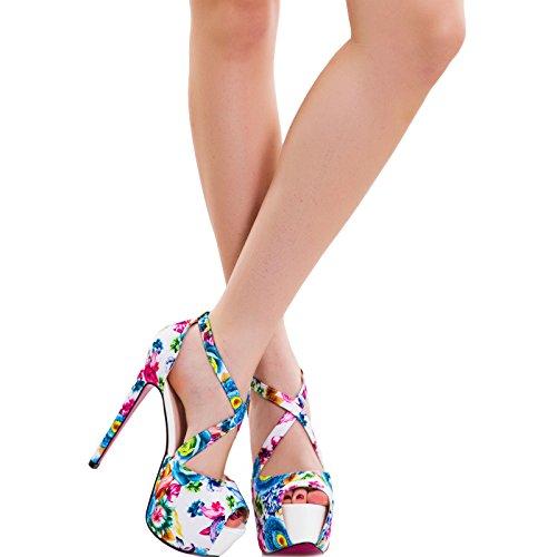 Toocool - Scarpe donna sandali floreali tacchi alti plateau cinturini sexy nuove SQ1653 Bianco