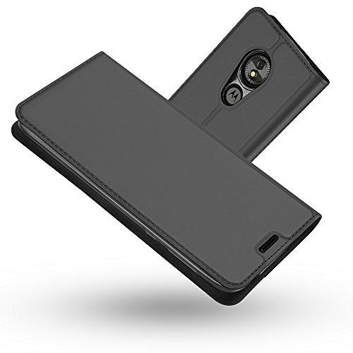 Radoo Moto E5 Play Hülle, Premium PU Leder Handyhülle Brieftasche-Stil Magnetisch Folio Flip Klapphülle Etui Brieftasche Hülle Schutzhülle Tasche Case Cover für Motorola Moto E5 Play (Schwarzgrau)