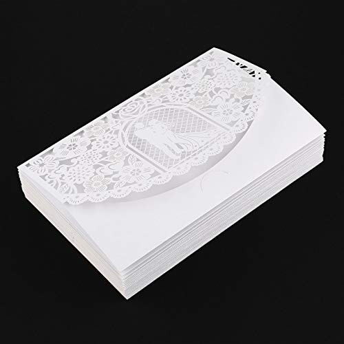 Fannty Einladungskarten mit Umschlag Packung mit 20, geschnittenen Einladungen für Hochzeit Verlobung Brial Baby Shower Business Event Shimmer Elegant Chic